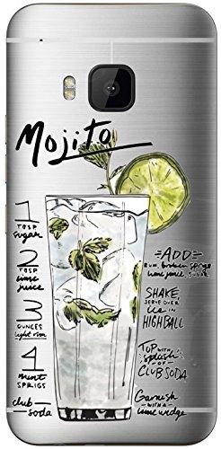 AMMYLIZARD Transparentes Sommer Sketch Back Cover aus Silikon für HTC One M9, Mojito Cocktail (Schöne Mädchen Pinterest)