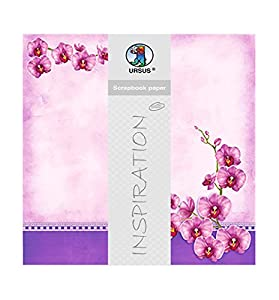 Ursus Premium Glitter Scrapbook Paper Orquídeas, Aprox. 30,5x 30,5cm, 5Hojas