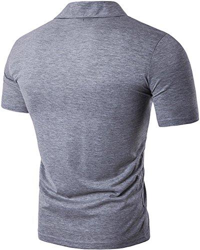 Sportides Mens Leisure Pocket Polo Shirt Short Sleeve T-Shirt Tops JZA026 JZA092_LightGray