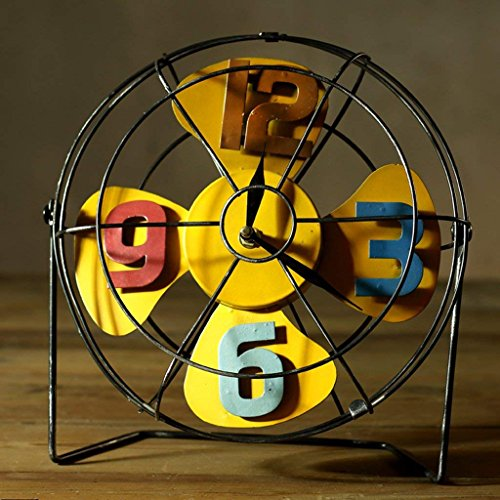 DHG DRM Fan Clock Retro Eisen Ornamente Nostalgische Metall Handwerk American Coffee Shop Shop Bar Personalisierte Dekorationen (Gelb),Gelb -