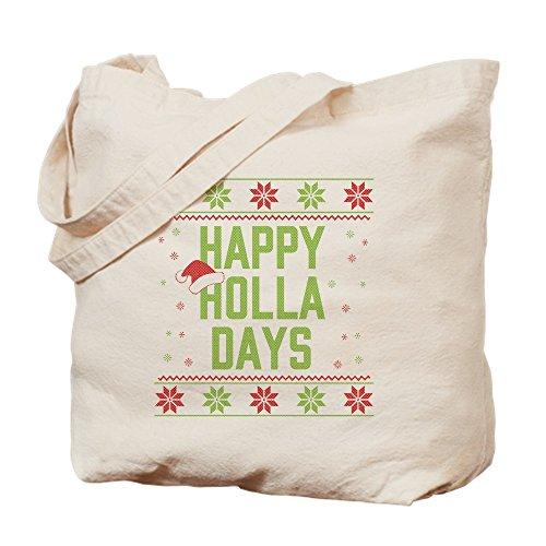 CafePress Happy Holla Days Einkaufstasche, canvas, khaki, S (Pullover Jungs Weihnachten Hässlich)