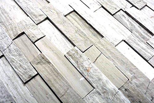 Mosaik Fliese Marmor Naturstein Brick Splitface grau Streifen für WAND BAD WC DUSCHE KÜCHE FLIESENSPIEGEL THEKENVERKLEIDUNG BADEWANNENVERKLEIDUNG Mosaikmatte Mosaikplatte