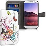 kwmobile Wallet Case Kunstlederhülle für Samsung Galaxy S3 i9300 / S3 Neo i9301 - Cover Flip Tasche in Schmetterlinge Hippie Design mit Kartenfach und Ständerfunktion in Mehrfarbig Pink Weiß