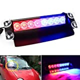 #3: FUN n SHOP 8 LED for Car Dash Strobe Lights Blue/Red Flash Emergency Police Warning Lamp