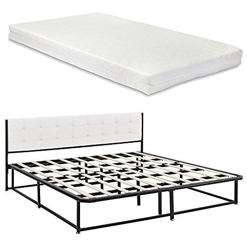 [en.casa] Metallbett mit Öko-Tex Standard 100 Matratze Kopfteil Lattenrost 180 x 200cm Schwarz Schlafzimmerbett Doppelbett