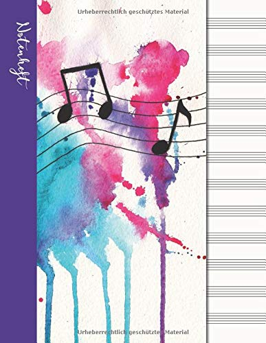 Notenheft: Notenpapier Notizbuch - Lila Umschlag (Musik Notizbücher, Band 4)