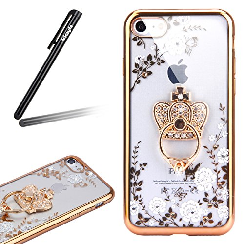 Coque pour iPhone 7/iPhone 8,iPhone 7 Or Rose Coque en Silicone Clair Ultra-Mince Etui Housse avec Bling Diamant,iPhone 7 Placage Coque Bling Bling Glitter Sparkle Diamond Silicone Case Rose Rose Gold Or couronne impériale-Fleur Blanche