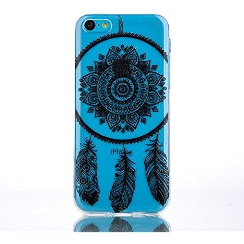 Voguecase® Para Apple iphone 5C,TPU Funda de Silicona de Gel Carcasa Tapa Case Cover (encaje pluma 03/negro) + Gratis aguja de la pantalla stylus universales