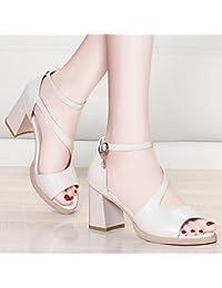 Jqdyl Tacones Grueso con sandalias Nuevo verano Sencillo estudiantes de tacón alto Salvaje con zapatos de mujer...
