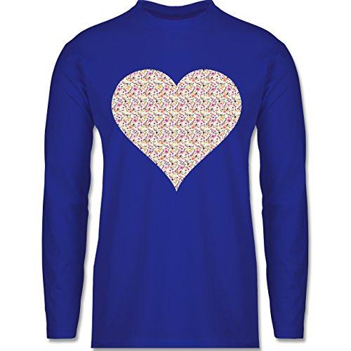 Shirtracer Vintage - Herz Blumen Bunt - Herren Langarmshirt Royalblau
