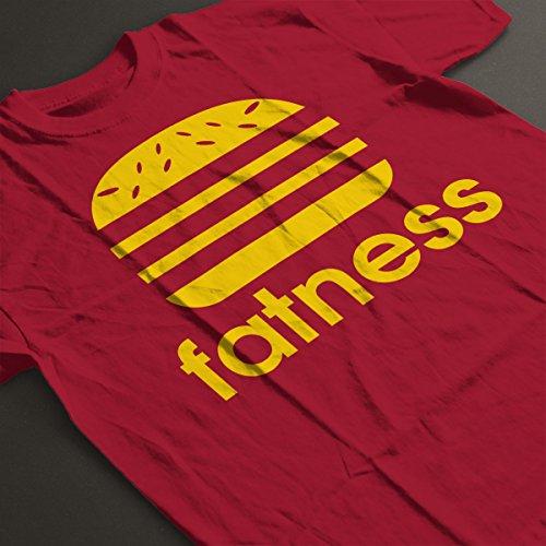 Fatness Adidas Burger Logo Women's T-Shirt Cherry Red