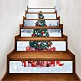 Yzibei Hintergrundwandglasaufkleber Baum Frohe Weihnachten Fliesenmuster Treppen Aufkleber Selbstklebende DIY Entfernbare Wandtattoos 6 Teile/Satz