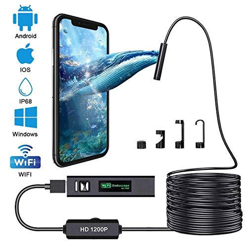 BD.Y Telecamera per ispezione endoscopio WiFi di Alta qualità 1200P Endoscopio HD con 8 LED Borescope Cavo Rigido Rigido per iPhone Android Smartphone da Tavolo iPad PC (32FT, Ultima Versione)
