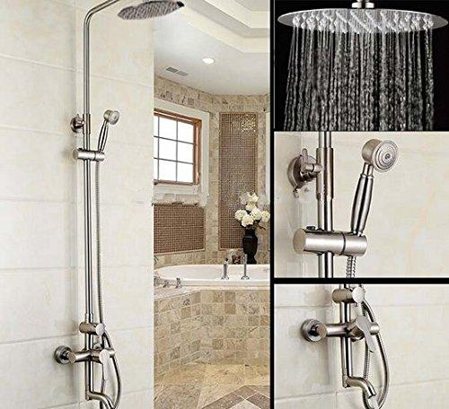 Nickel-dusche-kopf (Gowe Luxus 20,3cm Regen Dusche Kopf, Nickel gebürstet Dusche Wasserhahn Set Badewanne Armatur Dusche)