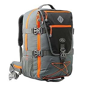 Cabin Max Equator. Volo Approvato zaino , con la copertura della pioggia intergrated , in vita e pettorale (grigio / arancio)