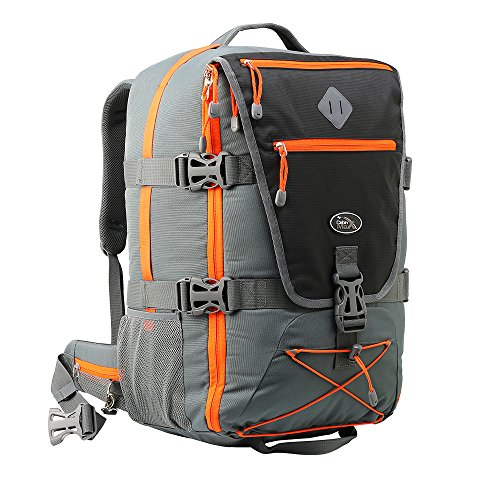 Equator Backpacking Cabin Luggage – Flight Approved Hand luggage backpack, with integrated Rain cover, waist and chest straps. (Grey/Orange)