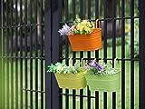 Dipamkar® set di 3vasi di fiori pendenti in metallo con foro di scarico per balcone, fioriera, davanzale, vaso, ornamenti da giardino