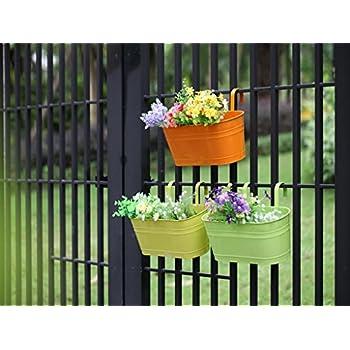 Dipamkar set of 10 metal pots hanging plant pots flower - Amazon jardineras ...