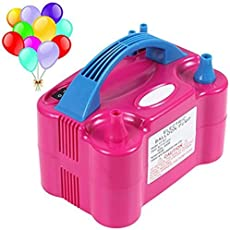 Pramukh Enterprice Electric Air Balloon Pump, Portable Dual Nozzle Inflator/Blower for Party Decoration - 230V 600 W Rose Red