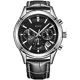 BUREI Men's Chronograph Wrist Watches Stopwatch with Black Dial Genuine Leather Strap Elegant