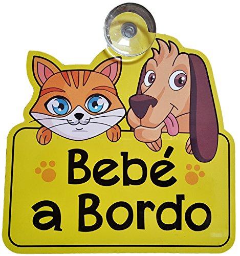 Bebé A Bordo coche señal con ventosa - Hace otros controladores consciente de que tiene un niño o bebé a bordo para proporcionar una conducción más segura medio ambiente - Amarillo brillante color con Bold letras - Único diseño de gato y perro