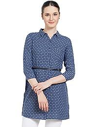 Bombay High Women's 100% Cotton Indigo Casual Dress