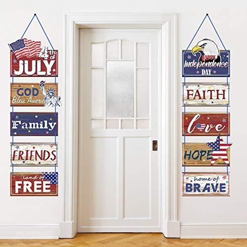 Amerika 4. Juli Party Banner Patriotische Party Dekoration Unabhängigkeit Tag Party Veranda Zeichen 4. Juli Party Lieferungen Rot Weiß Blau Hängen Zeichen Dekoration