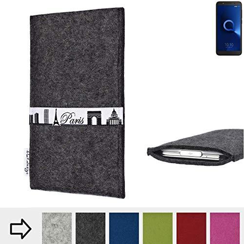 flat.design für Alcatel 1C Single SIM Schutzhülle Handy Case Skyline mit Webband Paris - Maßanfertigung der Schutztasche Handy Hülle aus 100% Wollfilz (anthrazit) für Alcatel 1C Single SIM