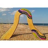 Boomerang Wawilak en bois, pour adultes à partir de l'âge de 13 ans, peint à la main