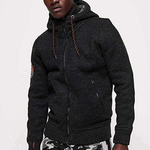 Superdry Expedition Ziphood in Black/Charcoal Twist Small (Zip Heavyweight Full Hoody)