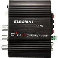 ELEGIANT LP-838 20 W 12 V HIFI Mini amplificador + adaptador estéreo, Super Bass, apto para coche/casa/radio/pc/CD/DVD/MP3/MP4/iPhone/iPod)