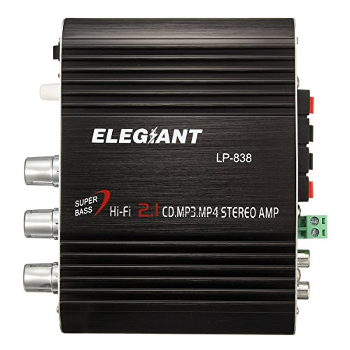 Elegiant LP-838 Hifi Mini-Verstärker + Adapter, Stereo, Super Bass, 200 W 12 V, für Auto, Haus, Radio, Computer, iPhone, iPod, MP3, MP4 usw.