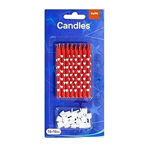 Juego de 16 Velas para Pastel con Soporte para enchufes, diseño de Corazones, Color Rojo y Blanco