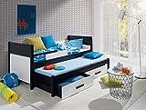 Furnistad - Massivholz Kiefer Kinderbett NICOLE - Kinder Funktionsbett mit Ausziehbett (Option links)