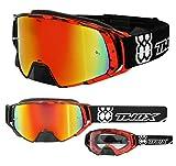 TWO-X Rocket Crossbrille Crush schwarz rot Glas verspiegelt Iridium MX Brille Nasenschutz Motocross Enduro Spiegelglas Motorradbrille Anti Scratch MX Schutzbrille Nose Guard