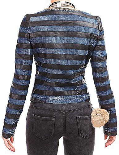 Damen Biker Jeansjacke Kurz Jacke Ketten Blazer Kunst-Leder-Besatz Zipper Jäckchen Jeans Blau Schwarz – 2958 - 2