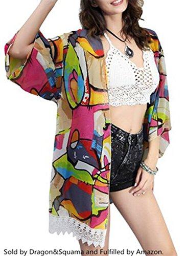 Jastore®Damen kühl Strandponcho Sommer Überwurf Kaftan Strandkleid Bikini Cover Up Mehrfarbig