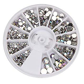 SMILEQ Runde 3D Acryl Nail Art Edelsteine Kristall Strass DIY Dekoration Rad (Silber)