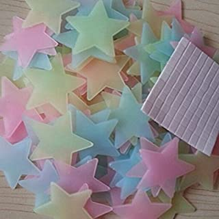 Alxcio 1 Set of 100pcs Glow in the Dark Star Stickers 3D Multicolor for Bedroom Celling Wall Decoration 3.8cm