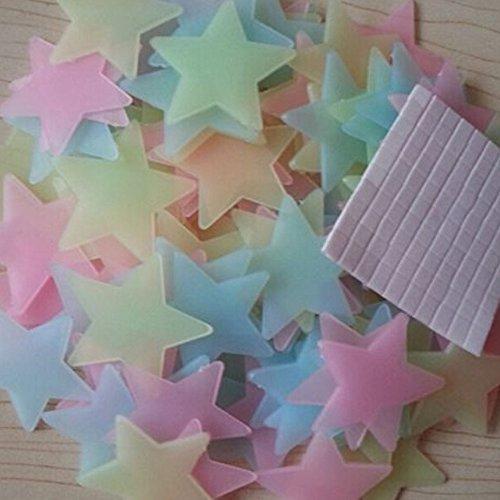 Alxcio 100 Stücke Glow in the Dark Sternaufkleber Decken Aufkleber 3D Sternenhimmel DIY Muster for Schlafzimmer Wall Celling Decoration selbstklebenden