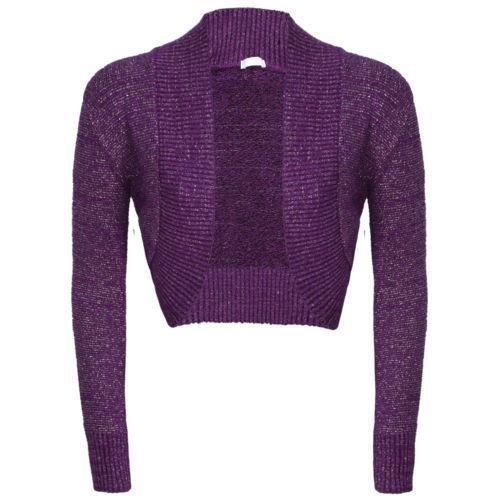 NEW Mesdames manches longues uni Lurex Boléro en tricot pour Cardigan en jersey pour homme Violet