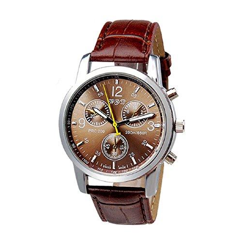 Malloom®hombres lujo elegante moda cuero de la PU analógico reloj