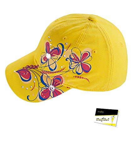 EveryHead Fiebig Mädchencap Kindercap Basecap Baseballcap Cappy Cappie Sommercap Blumenprint Glitzersteine Größenverstellbar (FI-85319-S16-MA0) inkl Hutfibel