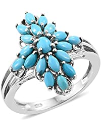 Arizona Sleeping Beauty Turquoise Oval Ring in Platinum Overlay Sterling Silver 1.500 Ct.