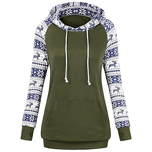 Marlene (R) Weihnachten Hoodie-Damen Langarm Geometrisches Drucken Kordelzug-Sweatshirt mit Kapuze (-35%) S~2XL