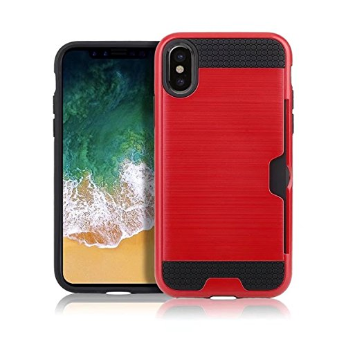CaseforYou Hülle iphone X Schutz Gehäuse Hülse Brushed Textured PC Inner TPU Hybrid Back Case Cover Shock Resistant Protector with Card Slot Schutzhülle für iphone X Handy (Golden) Red