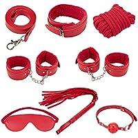 Loveryoyo SM kit 7 pieces bandage en cuir et poil jeu de sexe ( rouge )
