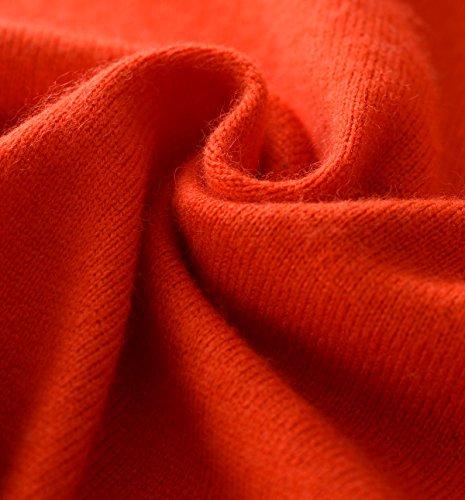 LongMing 100% Kaschmir Pullover for Damen Winter Warm Lange Ärmel V-Ausschnitt Slim Swaeter Orange