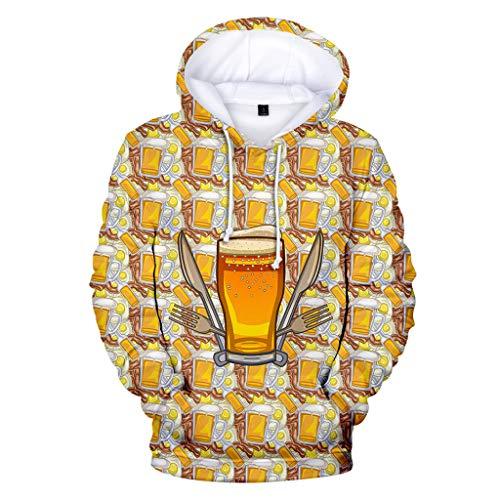 Unisex Hoodie 3D Druck Kapuzenpullover Langarm Sweatshirts mit Taschen ◆Elecenty◆ Beer Realistic Hoodies Digitaldruck Sweatshirt Kapuzenpullover Tops - Halfter Plus Size Anzug