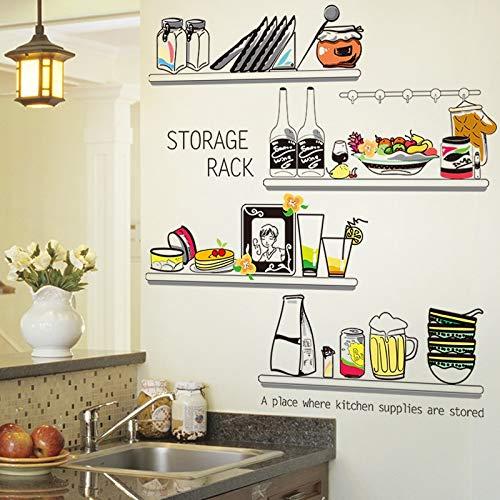 MEIXIA Küche Aufkleber PVC Material DIY Ablageboden Wandtattoos Für Esszimmer Schrank Kühlschrank Glas Dekoration